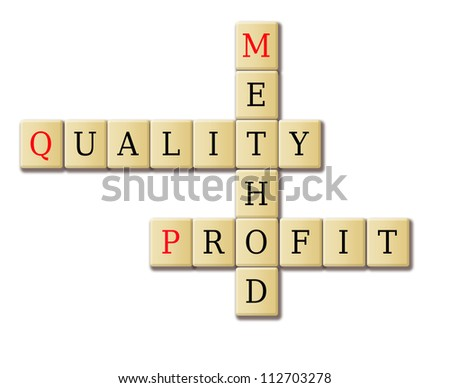 Quality, profit and method in a crossword puzzle. My original ideas. - stock photo