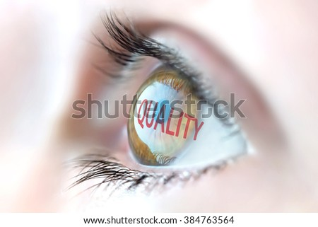 Quality reflection in eye. - stock photo