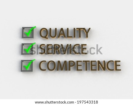 quality, service, competence - stock photo