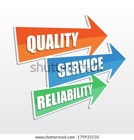 quality, service, reliability - text in arrows, business concept, flat design - stock photo