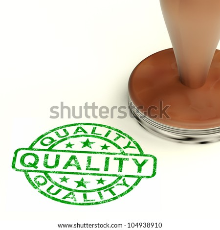 Quality Stamp Showing Excellent Product - stock photo