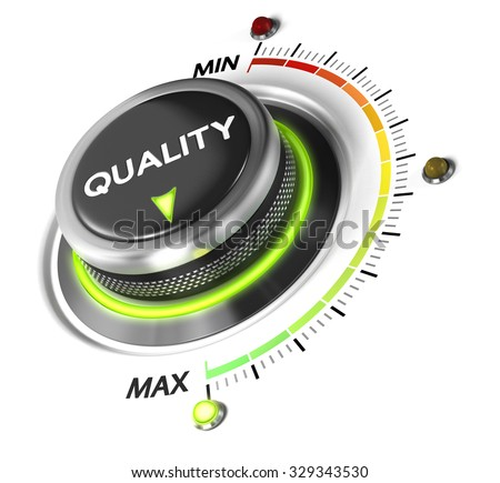 Quality switch knob positioned on maximum, white background and green light. Conceptual image for quality management and Improvement. - stock photo