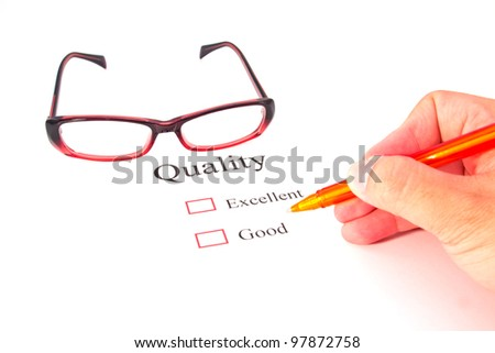 quality test closeup and glasses - stock photo