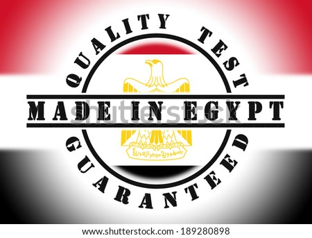 Quality test guaranteed stamp with a national flag inside, Egypt - stock photo