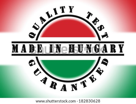 Quality test guaranteed stamp with a national flag inside, Hungary