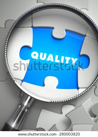 Quality through Lens on Missing Puzzle Peace. Selective Focus. 3D Render. - stock photo