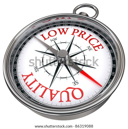 quality versus low price concept compass isolated on white background - stock photo