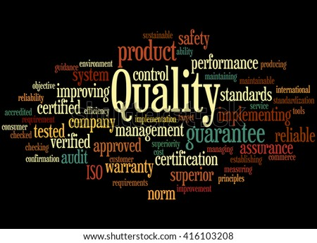 Quality, word cloud concept on black background.  - stock photo