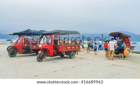 Quan Lan, Quang Ninh , Vietnam , May 2 2016 , tuk tuk main passenger facilities on the island quanlan, an island in halongbay