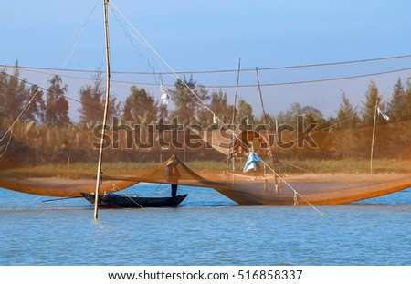 QUANG BINH, Vietnam, July 25, 2016 fishermen fishing boating, marine Quang Binh, central Vietnam