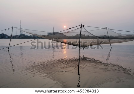 QUANG BINH, Vietnam, July 12, 2016 fishing nets, sea Quang Binh, Vietnam, in the afternoon sunset