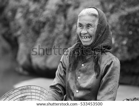 QUANG BINH, Vietnam, July 21, 2016 portrait woman, fishermen Quang Binh Vietnam, friendly smile