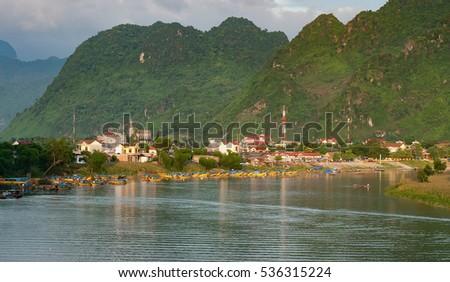 QUANG BINH, Vietnam, July 18, 2016 Son river, countryside, Quang Binh, Vietnam
