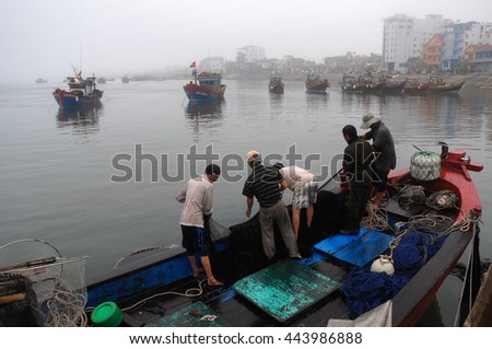 QUANG BINH, Vietnam, June 27, 2016 fishermen and waters Quang Binh, Vietnam, Fishing