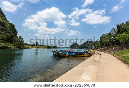 QUANG BINH, VIETNAM, MAY 05 2015: Boat harbor of Phong Nha Tourism Center. on MAY 05 2015 in Quang Binh, Vietnam. Phong Nha is a world natural heritage.