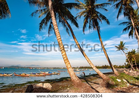 QUANG NGAI, Vietnam, April 18, 2016 coconut beach, My Khe, Quang Ngai Province, central Vietnam