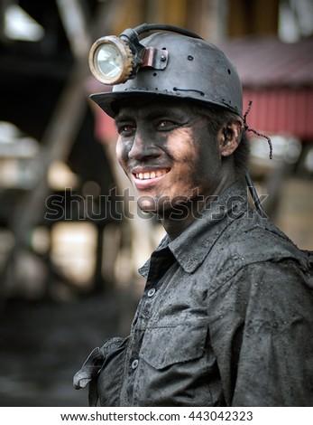 Quang Ninh, Vietnam, June 21, 2016 Portrait of a miner. Coal mine, Mao Khe, Quang Ninh province, Vietnam