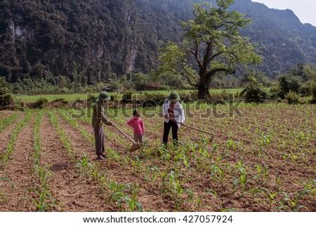 QUANG TRI, VIETNAM, November 18, 2015 Family, Quang tri countryside, Vietnam, gardening