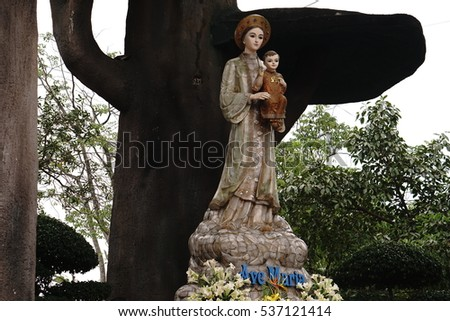 Quang Tri, Vietnam - November 2016 - La Vang church is well worth a visit which was built at the time the government killed the christens, a pilgramage site as having Holy Mother holding baby Jesus