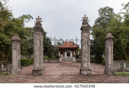 QUANG TRI, Vietnam, November 17, 2015 Temple, proud pronoun Nguyen Du, Quang Tri province Vietnam