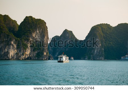 QUANGNINH, VIETNAM, AUGUST 22, 2015. Beautiful seascape with tourist boats in Halong bay. Halongbay is World Natural Heritage of Quang Ninh Vietnam.