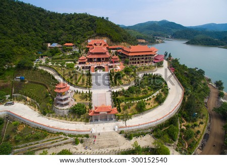 QUANGNINH, VIETNAM, July 12, 2015. Cai Bau pagoda from highview near Halong bay. Halongbay is World Natural Heritage of Quang Ninh Vietnam.