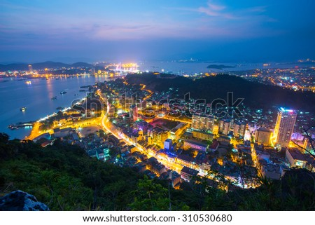 QUANGNINH, VIETNAM, July 12, 2015. Halong city at night. Halongbay is World Natural Heritage of Quang Ninh Vietnam.