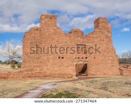 Quarai Mission ruins are located in Salinas Pueblo Missions National Monument near Mountainair, NM. - stock photo