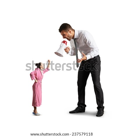 quarrel between big angry man and small screaming woman. isolated on white background - stock photo