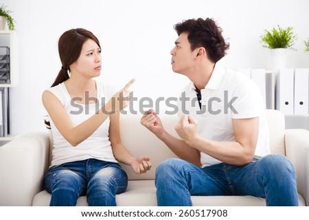 Quarrel between girlfriend and  boyfriend - stock photo