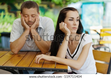 Quarrel between loved young man and woman. - stock photo