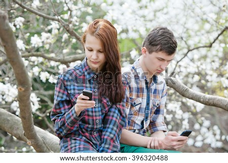 quarrel between lovers, they turned away and did not look at each other - stock photo
