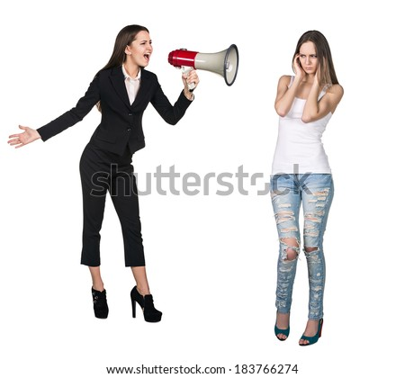Quarrel. Boss woman crying in megaphone to her employee