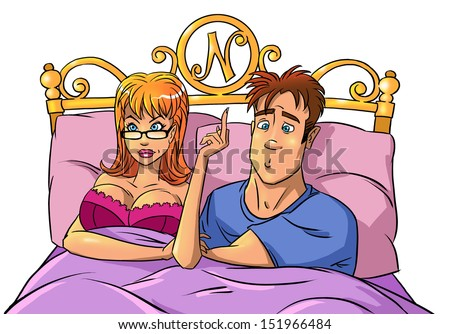 Quarrel. Man and anger woman with finger