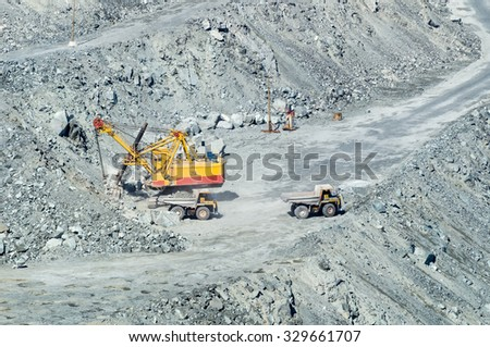 quarry for extraction of minerals, the town of Asbest, Russia, Ural, 26.04.2015 year.
