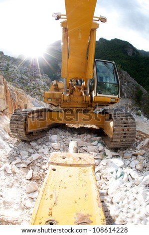 Quarry in The Marble Cave in Tuscany - stock photo