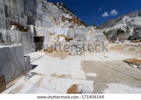 quarry of white marble in Carrara, Tuscany, Italy - stock photo