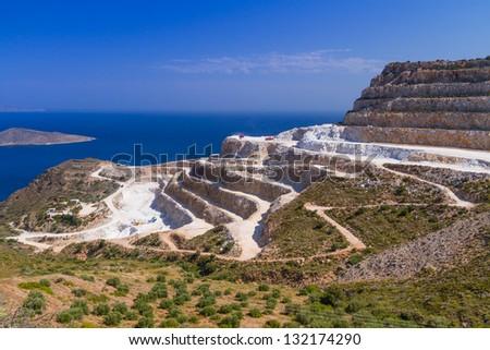 Quarry on the coast of Crete, Greece - stock photo