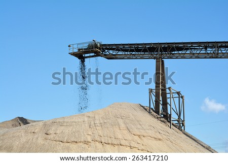 quarrying of sand and gravel - stock photo
