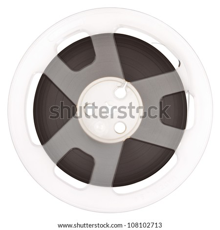 Quarter Inch Open Reel Tape in Plastic Spool isolated on white background with Clipping Path