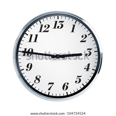 Quarter to three on the wall clock - stock photo