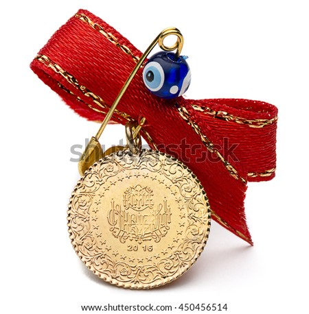 Quarter Turkish Gold Coin Front View  - stock photo
