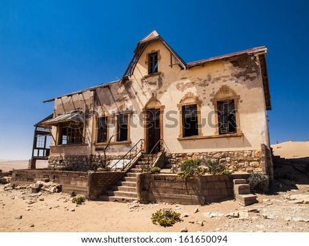 Quartermaster's house in Kolmanskop ghost town (Namibia) - stock photo
