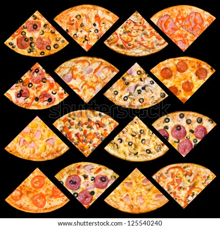 quarters of 16 different pizzas in one set, isolated on black, top view - stock photo