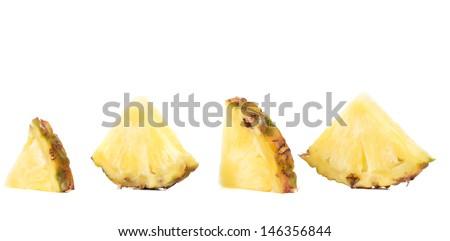 Quarters of slices pineapple. - stock photo