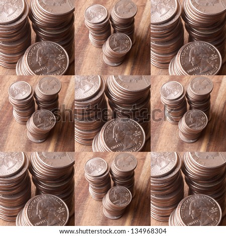 Quarters Stacked on Wooden Table ; Background and design
