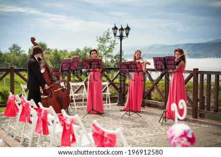 Quartet of classical musicians playing at a wedding outdoors near the river - stock photo