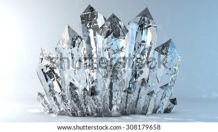 Quartz crystals growing - stock photo