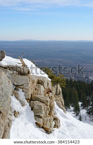 Quartz remains on the top of Zuratkul mountain ridge, South Ural, Russia