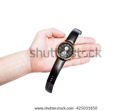 Quartz watches with a leather strap, white background, businessman checking the time on his watch, Watch on wrist isolated over a white background, modern wristwatch - stock photo